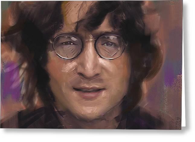 British Celebrities Greeting Cards - John Lennon portrait Greeting Card by Dominique Amendola