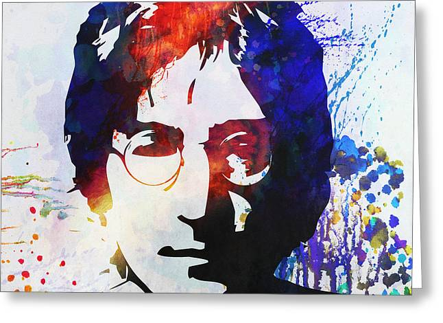 Best Sellers -  - British Portraits Greeting Cards - John Lennon stencil portrait Greeting Card by Pixel Chimp