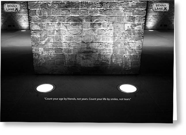 John Lennon Quote Greeting Cards - John Lennon superimposed on ancient brick wall at Albert Dock  Liverpool with one of Johns quotes Greeting Card by Ken Biggs