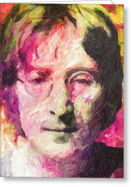 Best Sellers -  - Green And Yellow Abstract Greeting Cards - John Lennon Greeting Card by Taylan Soyturk
