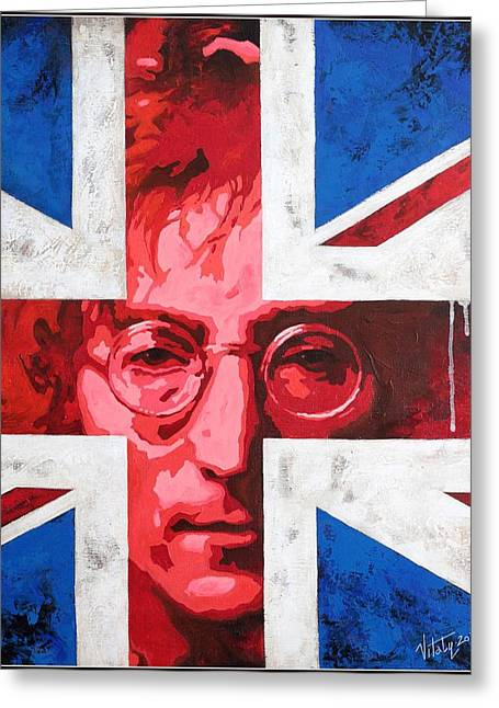 Quartet Paintings Greeting Cards - John Lennon -The man of peace.The number one Greeting Card by Vitaliy Shcherbak