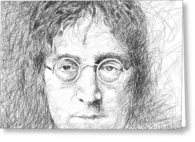 John Lennon Art Drawings Greeting Cards - John Lennon Greeting Card by Viv Griffiths