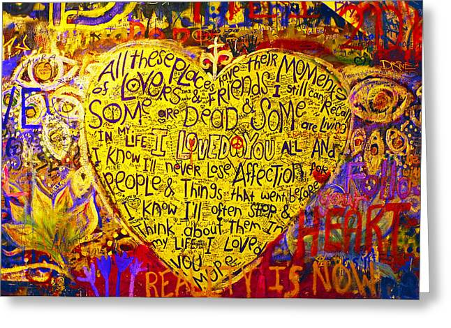 In My Life Greeting Cards - John Lennon Wall / Prague Greeting Card by Kevin D Haley