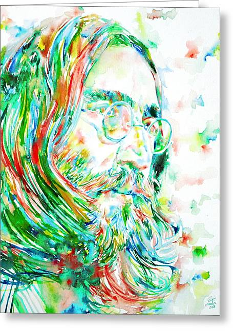 In Bed Greeting Cards - John Lennon Watercolor Portrait Greeting Card by Fabrizio Cassetta