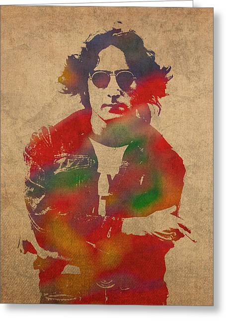 John Greeting Cards - John Lennon Watercolor Portrait on Worn Distressed Canvas Greeting Card by Design Turnpike