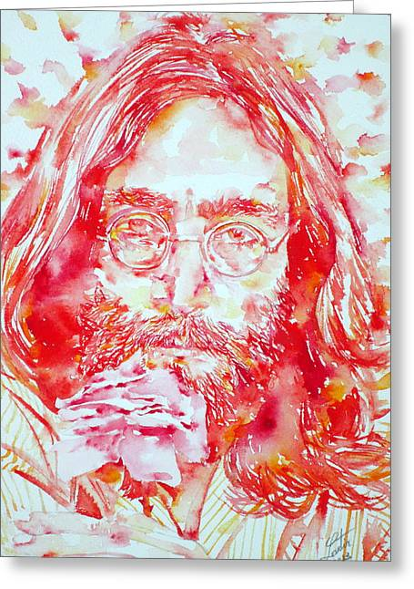 John Lennon Images Greeting Cards - JOHN LENNON with ROSE Greeting Card by Fabrizio Cassetta