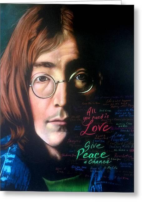 Editorial Drawings Greeting Cards - John Lennon - Wordsmith Greeting Card by Robert Korhonen
