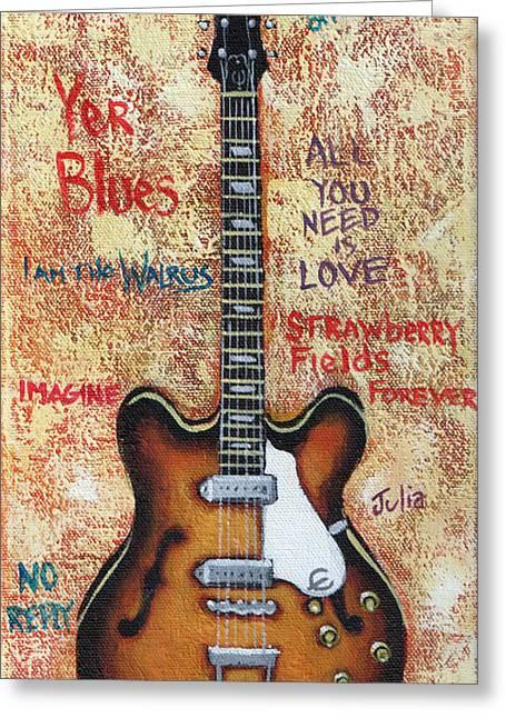 Epiphone Guitars Greeting Cards - John Lennons Casino Greeting Card by Arturo Vilmenay