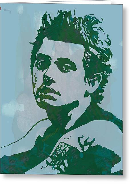 Mainly Blue Greeting Cards - John Mayer - Pop Stylised Art Sketch Poster Greeting Card by Kim Wang