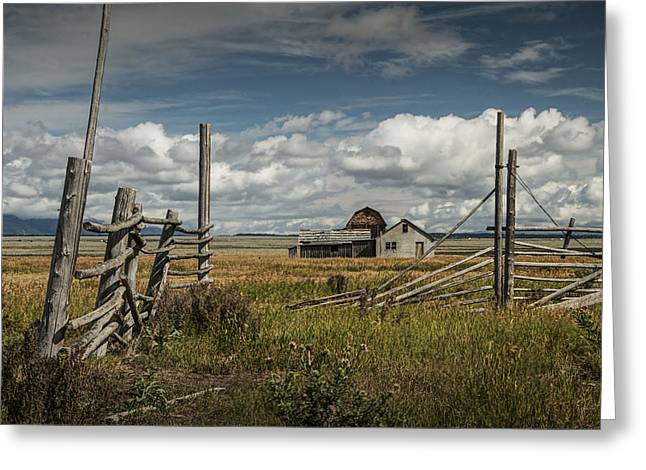 Brown Tones Greeting Cards - John Moulton Farm with Wood Fence Greeting Card by Randall Nyhof