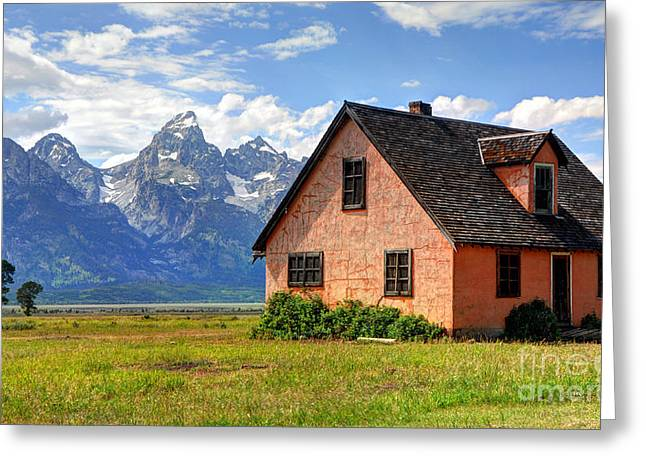 Pioneer Homes Photographs Greeting Cards - John Moulton Home Grand Teton National Park Greeting Card by Gary Whitton