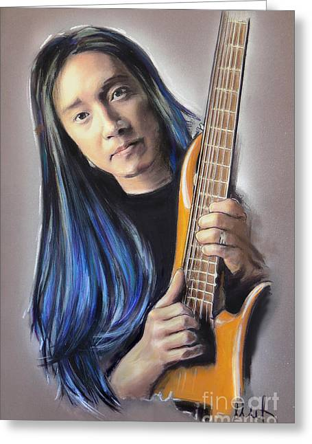 Hard Rock Mixed Media Greeting Cards - John Myung Greeting Card by Melanie D