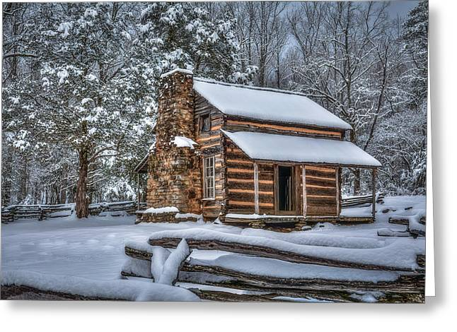 Historic Stucture Greeting Cards - A Snowy John Oliver Cabin - Cades Cove Greeting Card by Matt and Delia Hills Photography