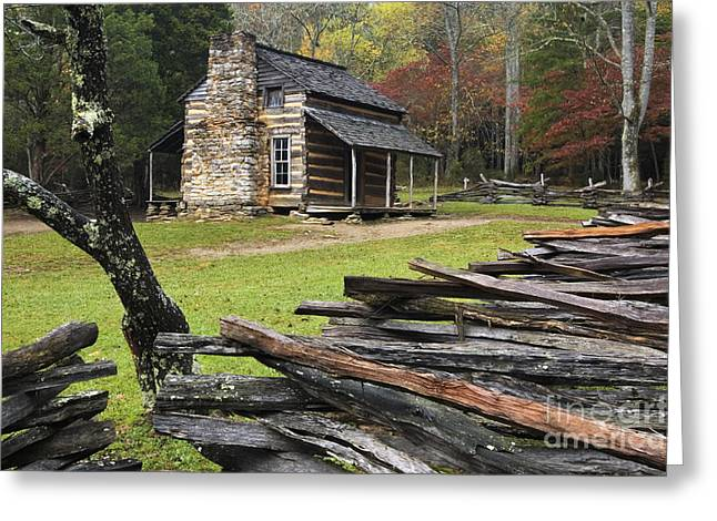 Split Rail Fence Greeting Cards - John Oliver Cabin - D000352 Greeting Card by Daniel Dempster