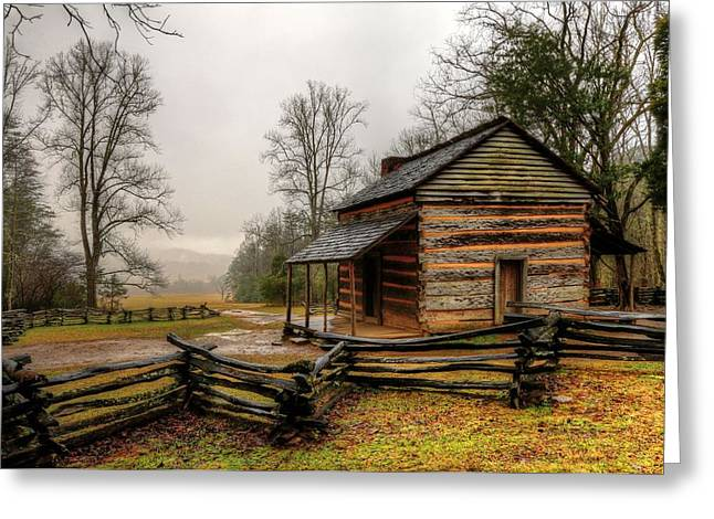 Log Cabins Greeting Cards - John Olivers Cabin In Cades Cove Greeting Card by Carol R Montoya