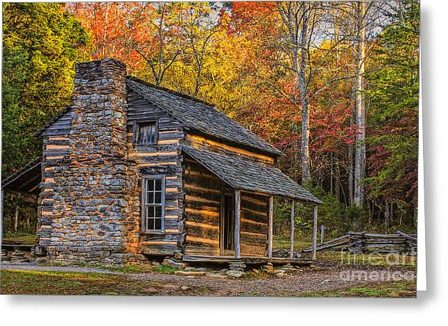 Log Cabins Greeting Cards - John Olivers Cabin in Great Smoky Mountains Greeting Card by Priscilla Burgers