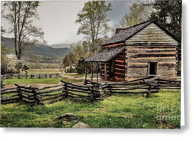 Log Cabins Framed Prints Greeting Cards - John Olivers Cabin in Spring. Greeting Card by Debbie Green