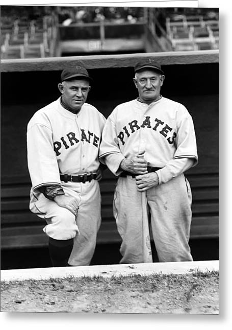 Century Series Greeting Cards - John P. Honus Wagner with Doc Crandall Greeting Card by Retro Images Archive