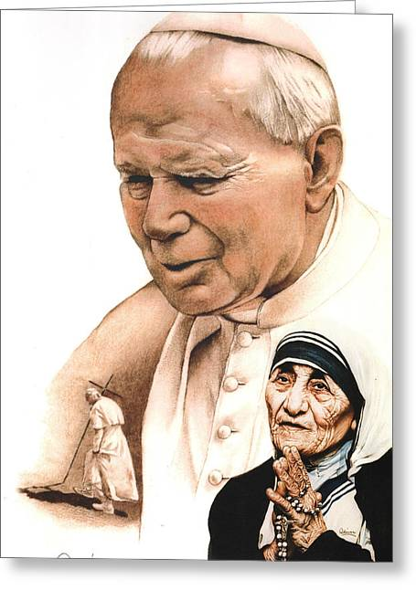 Hand Drawn Pastels Greeting Cards - John Paul and Mother Teresa Greeting Card by Bill Olivas