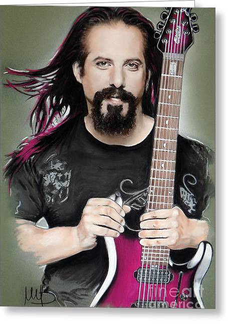 Hard Rock Mixed Media Greeting Cards - John Petrucci Greeting Card by Melanie D
