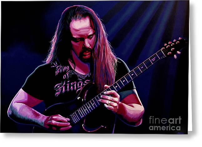 Metal Art Greeting Cards - John Petrucci Greeting Card by Paul Meijering