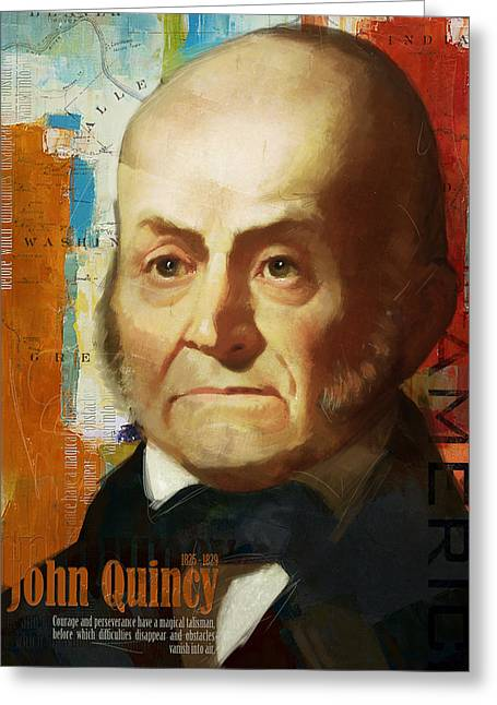 Garfield Greeting Cards - John Quincy Adams Greeting Card by Corporate Art Task Force
