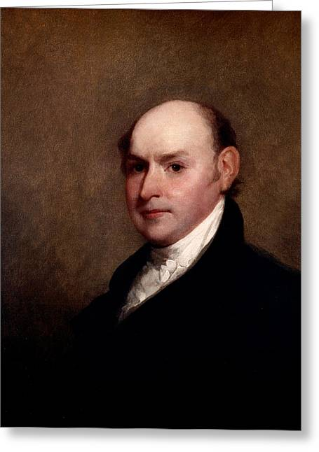 Political Figures Greeting Cards - John Quincy Adams Greeting Card by Gilbert Stuart