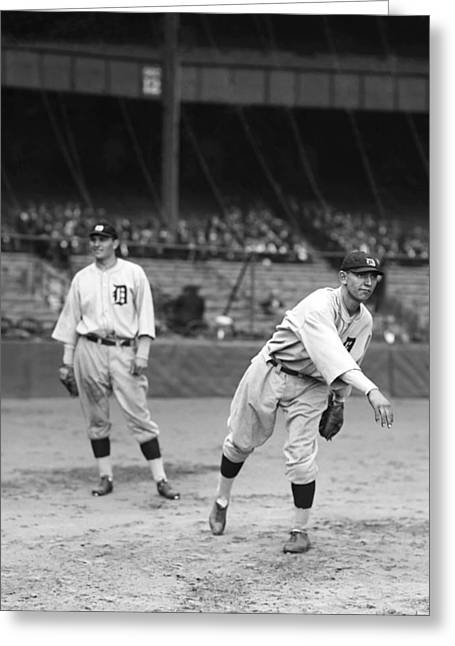 Third Baseman Greeting Cards - John R. Jack Warner Greeting Card by Retro Images Archive