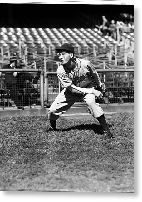 Baseball Game Greeting Cards - John S. Johnny Podgajny Greeting Card by Retro Images Archive