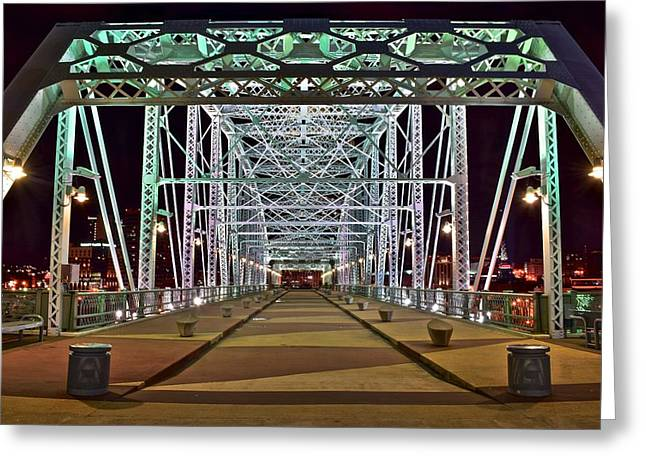 Nashville Greeting Cards - John Seigenthaler Pedestrian Bridge Greeting Card by Frozen in Time Fine Art Photography
