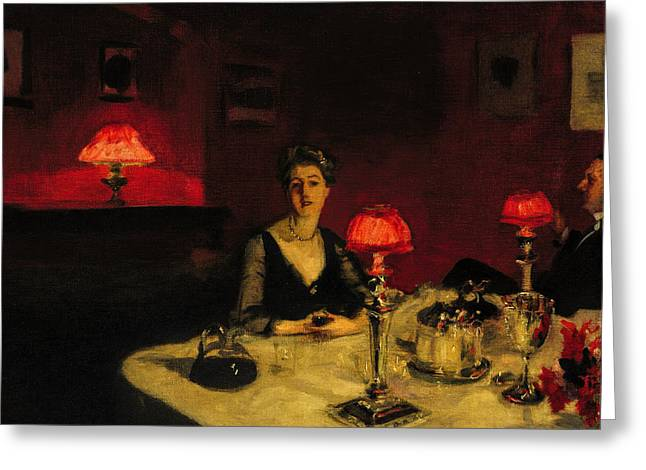 Canvas Framing Paintings Greeting Cards - John Singer Sargent - A Dinner Table At Night Greeting Card by John Singer Sargent