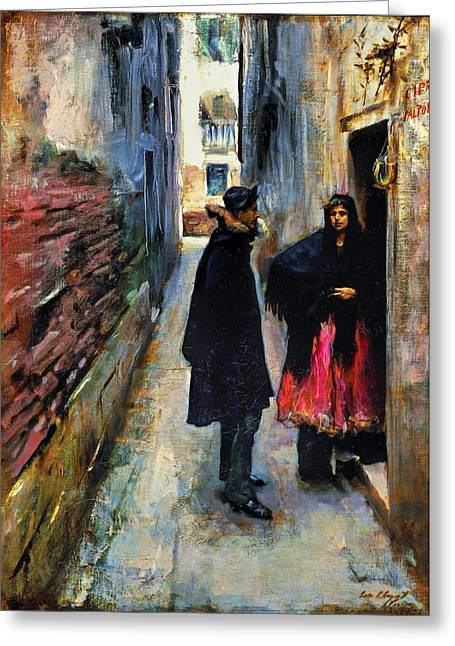 Canvas Framing Paintings Greeting Cards - John Singer Sargent - A Street in Venice Greeting Card by John Singer Sargent