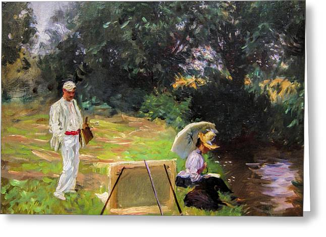 Wall Greeting Cards - John Singer Sargent - Dennis Miller Bunker Painting at Calcot Greeting Card by John Singer Sargent