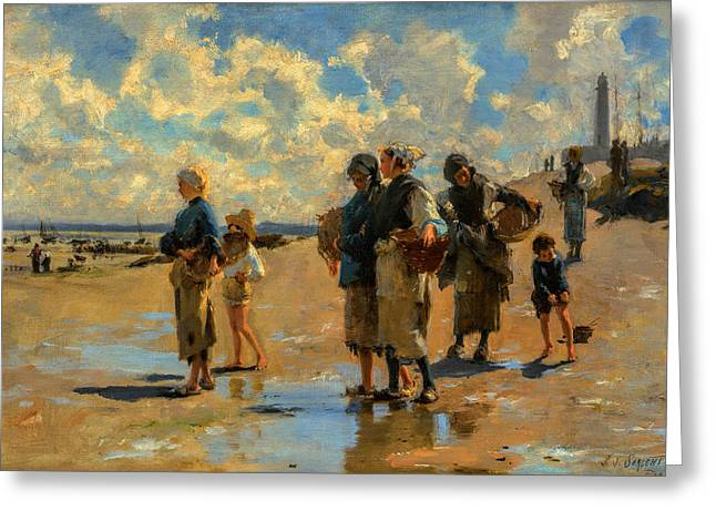 Fishing Greeting Cards - John Singer Sargent - Fishing for Oysters at Cancale Greeting Card by John Singer Sargent