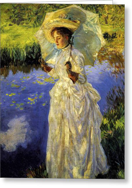 Bedroom Wall Art Greeting Cards - John Singer Sargent - Morning Walk Greeting Card by John Singer Sargent