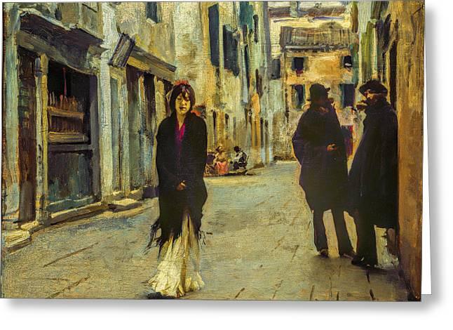 Cool Greeting Cards - John Singer Sargent - Street in Venice Greeting Card by John Singer Sargent