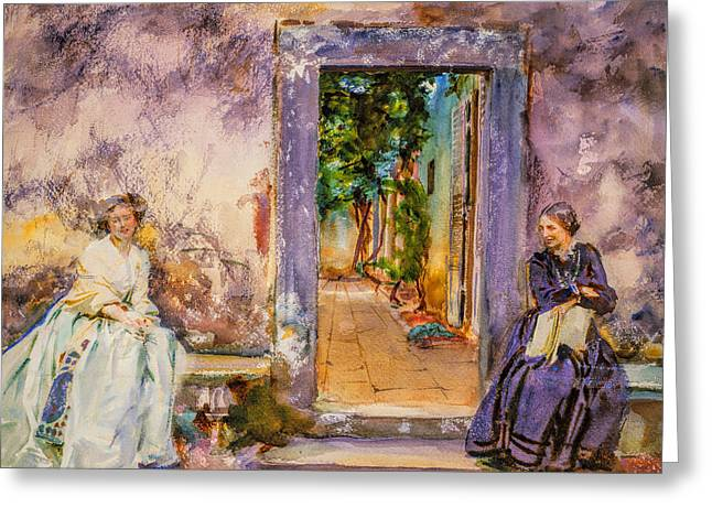 Cool Greeting Cards - John Singer Sargent - The Garden Wall Greeting Card by John Singer Sargent