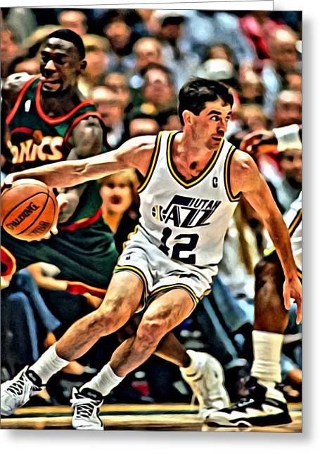 Best Sellers -  - Slamdunk Greeting Cards - John Stockton Greeting Card by Florian Rodarte