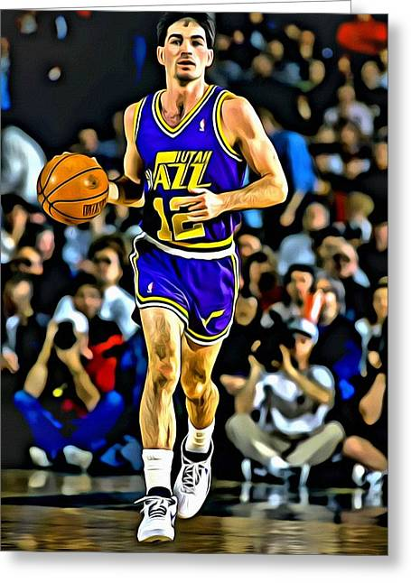 Best Sellers -  - Slamdunk Greeting Cards - John Stockton Portrait Greeting Card by Florian Rodarte