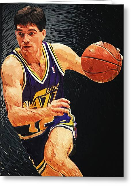 Nba All Star Game Greeting Cards - John Stockton Greeting Card by Taylan Soyturk