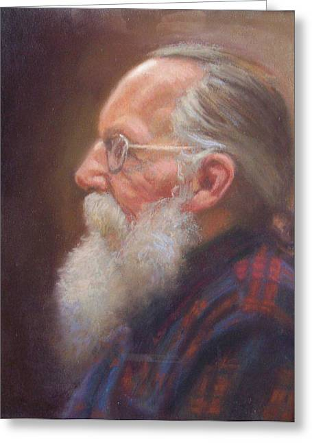 White Beard Pastels Greeting Cards - John the Grey Beard Greeting Card by Dave Holman