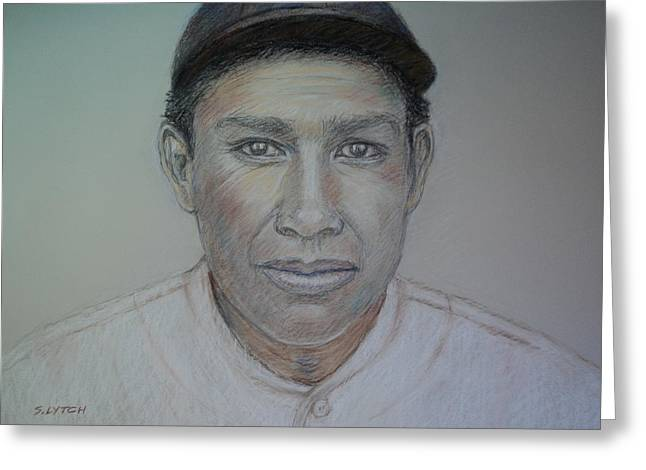 Baseball Player Pastels Greeting Cards - John Tortes Chief Meyers Greeting Card by Sandra Lytch
