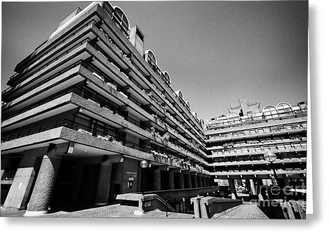 Brutalist Greeting Cards - John Trundle Court In The Barbican Residential Estate London England Uk Greeting Card by Joe Fox