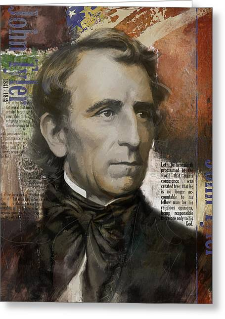 Garfield Greeting Cards - John Tyler Greeting Card by Corporate Art Task Force