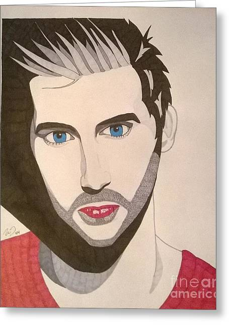 Famous Person Mixed Media Greeting Cards - John Vesely Greeting Card by Nick Denzel