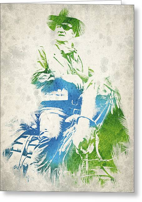 The Horse Greeting Cards - John Wayne  Greeting Card by Aged Pixel