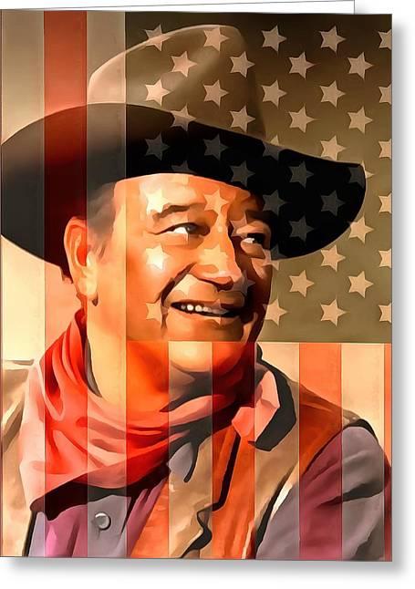 Shootist Greeting Cards - John Wayne American Cowboy Greeting Card by Dan Sproul