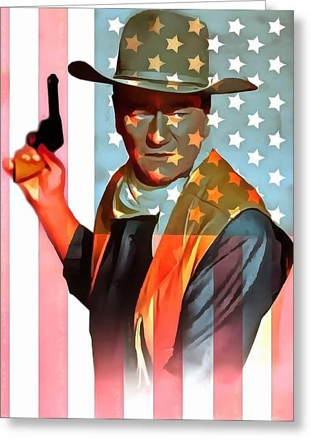 Shootist Greeting Cards - John Wayne American Icon Greeting Card by Dan Sproul