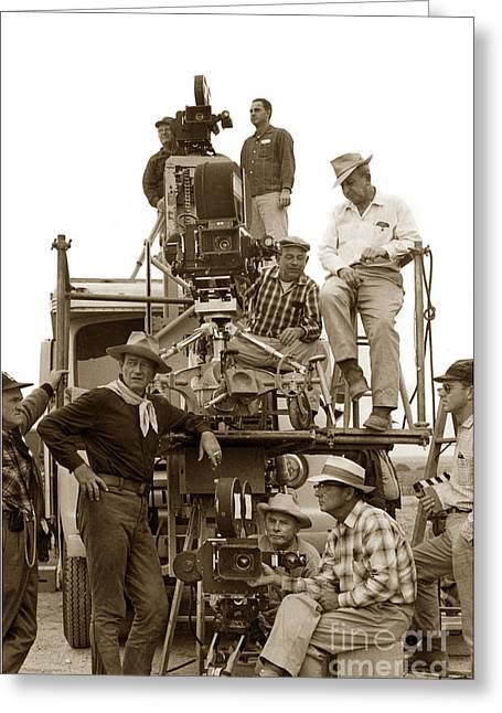 1959 Movies Greeting Cards - John Wayne and movie camera truck Rio Bravo 1959 Greeting Card by California Views Mr Pat Hathaway Archives