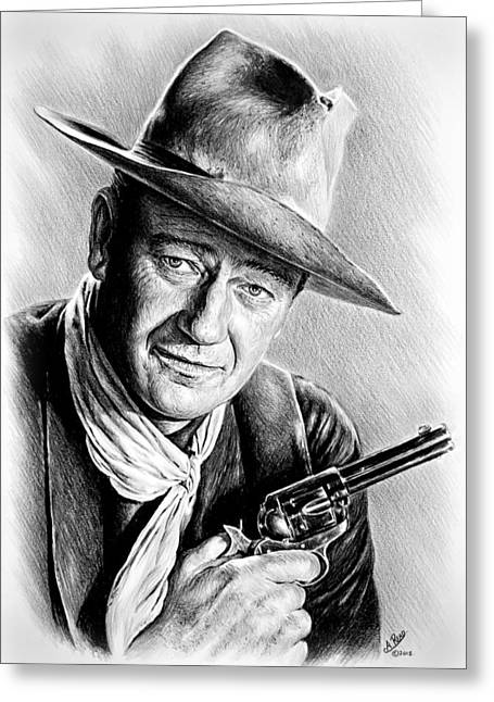 1950s Portraits Greeting Cards - John Wayne  Greeting Card by Andrew Read